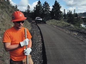 Ferry County Rail Trail paving in 2016