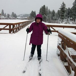 Karen Giebel Skiing the Rail Trail